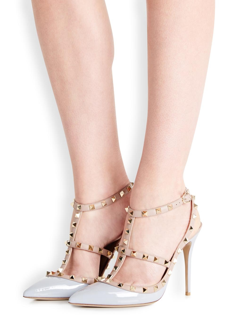 9e312d05042 Valentino Rockstud 100 Powder Blue Patent Leather Pumps in Natural - Lyst