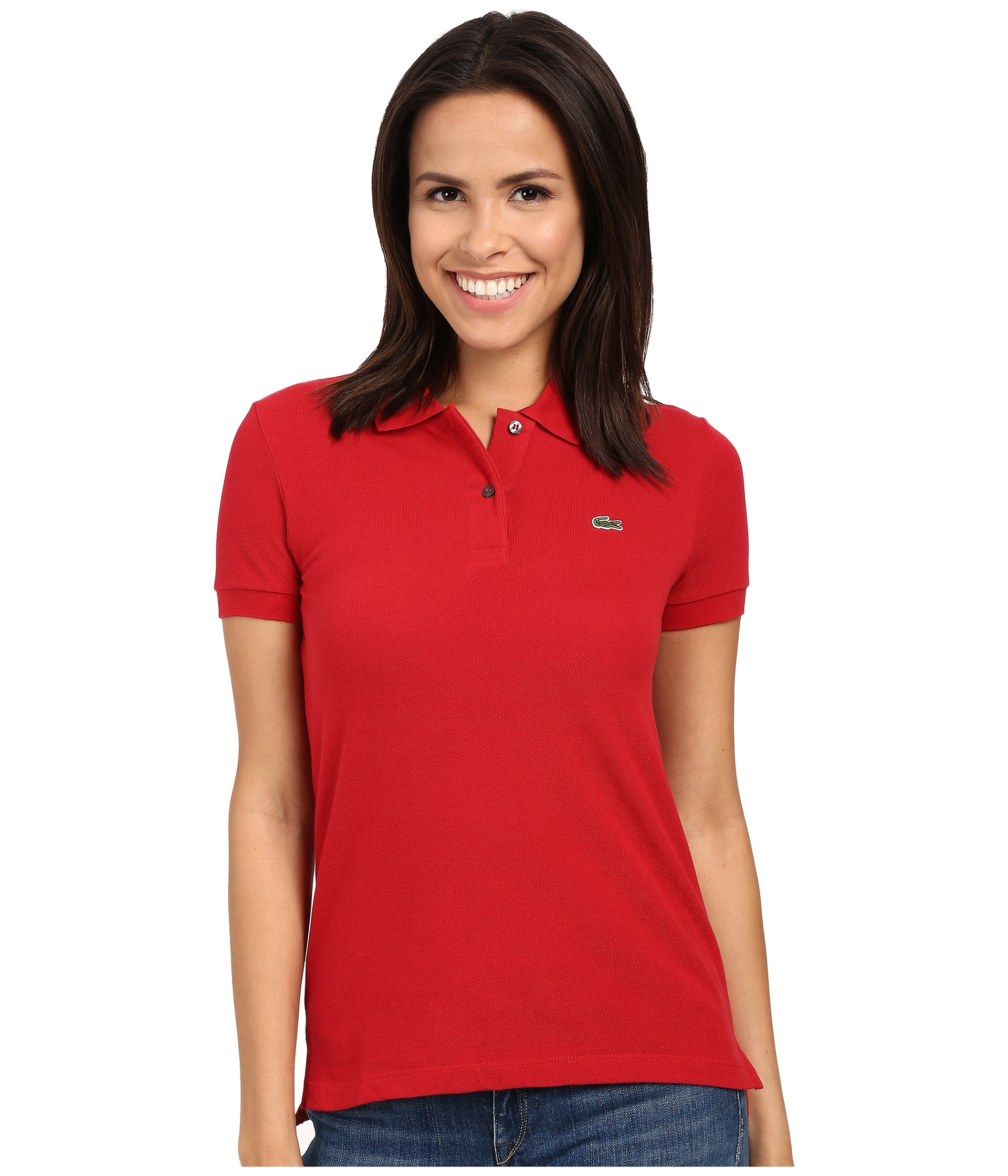 lacoste short sleeve classic fit pique polo shirt in red lyst. Black Bedroom Furniture Sets. Home Design Ideas