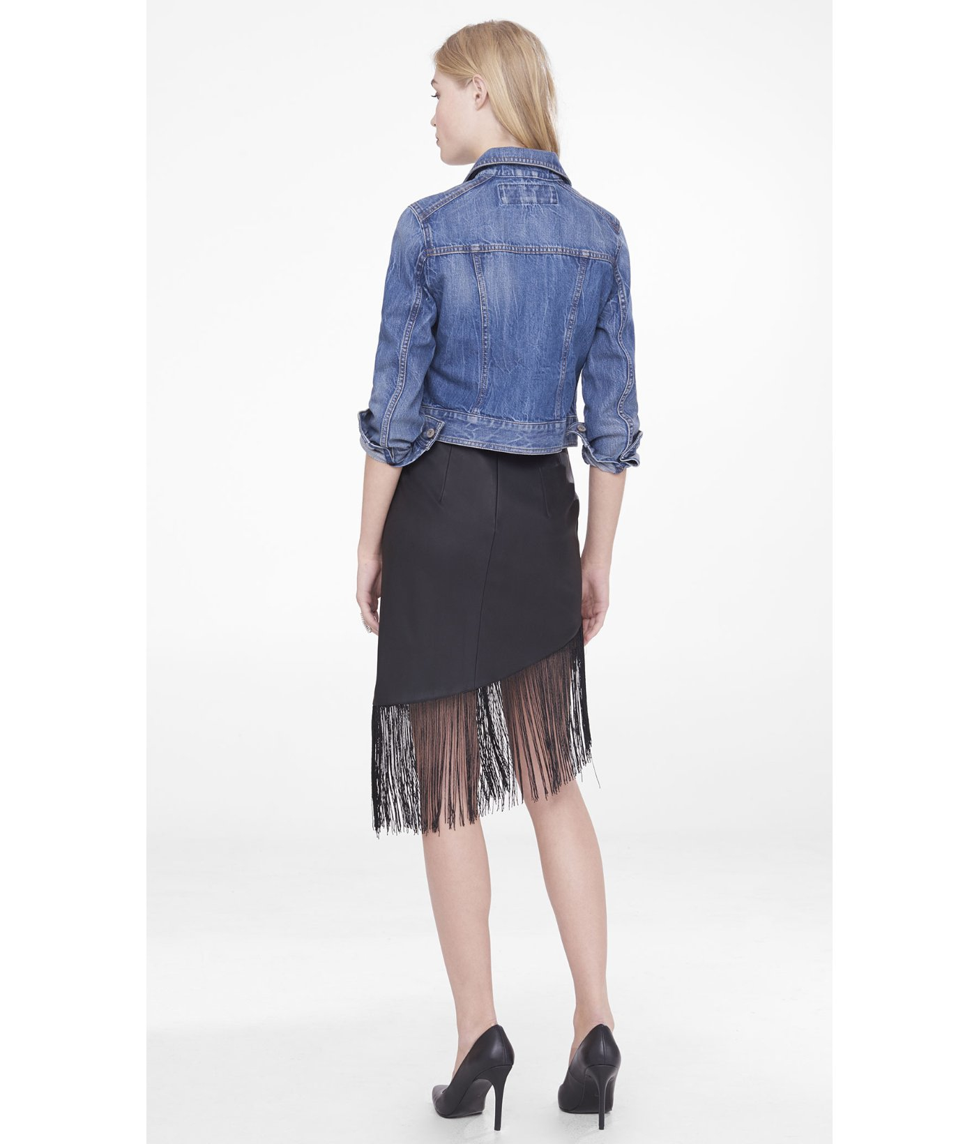 express asymmetrical minus the leather fringe skirt in