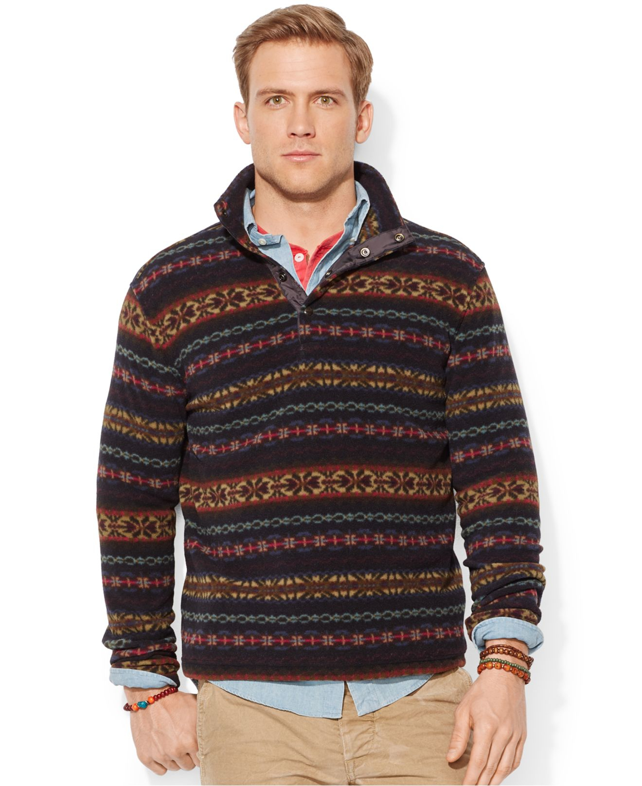 Polo ralph lauren Fair Isle Fleece Pullover for Men | Lyst