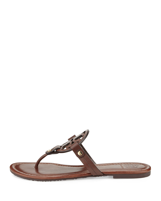 7a145f143 Lyst - Tory Burch Miller Logo Flat Sandal in Brown