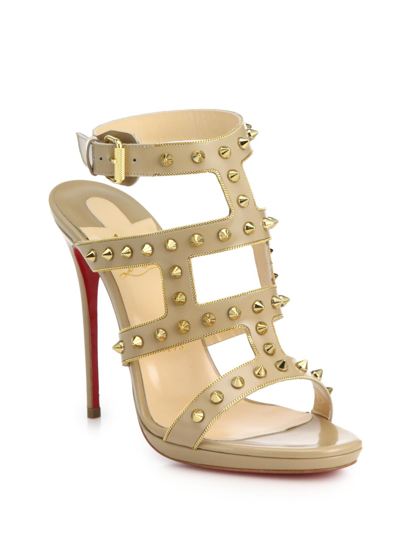 christian louboutin leather ruched sandals | Boulder Poetry Tribe