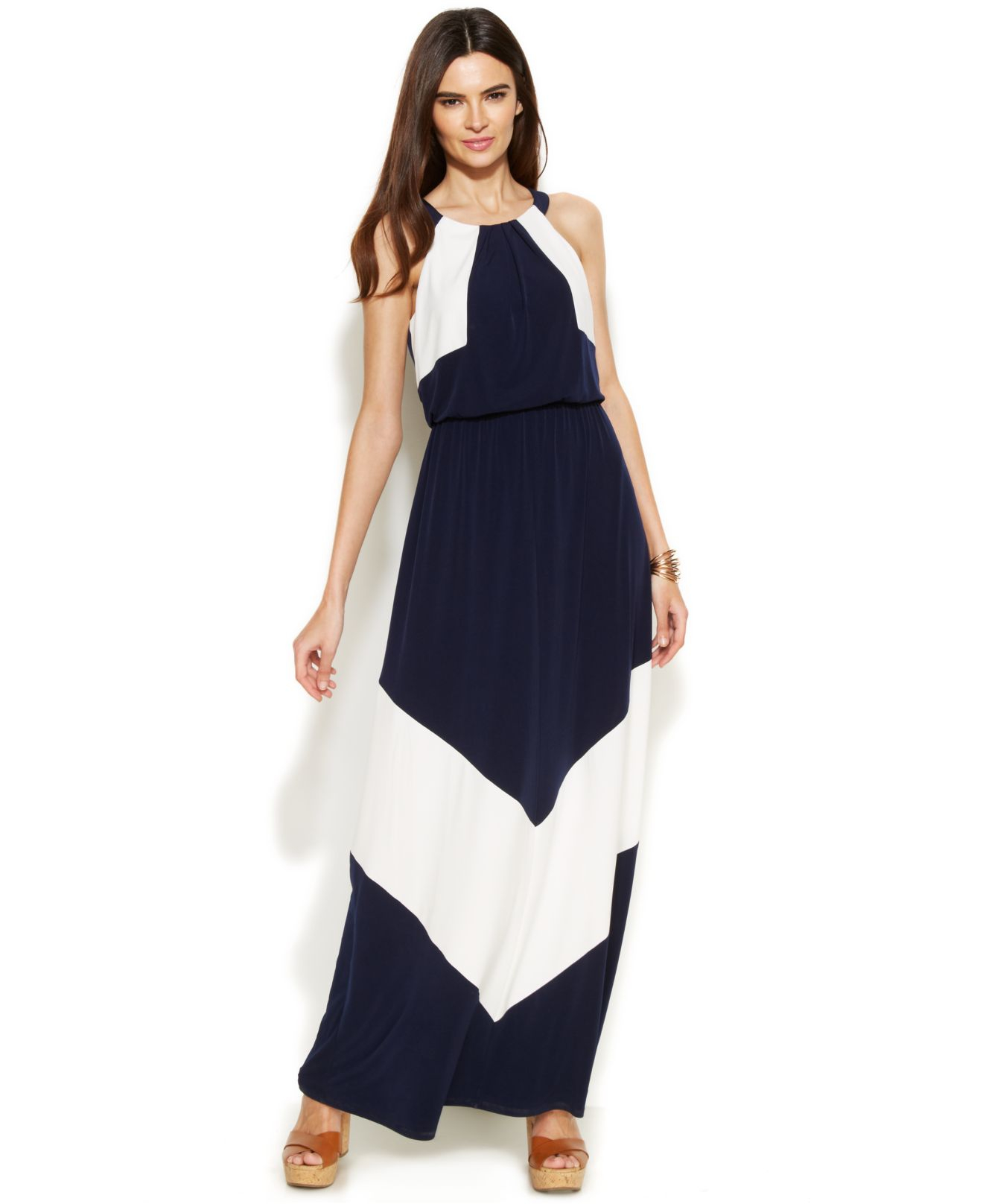 e688a345699 Navy Blue And White Chevron Maxi Dress - Gomes Weine AG