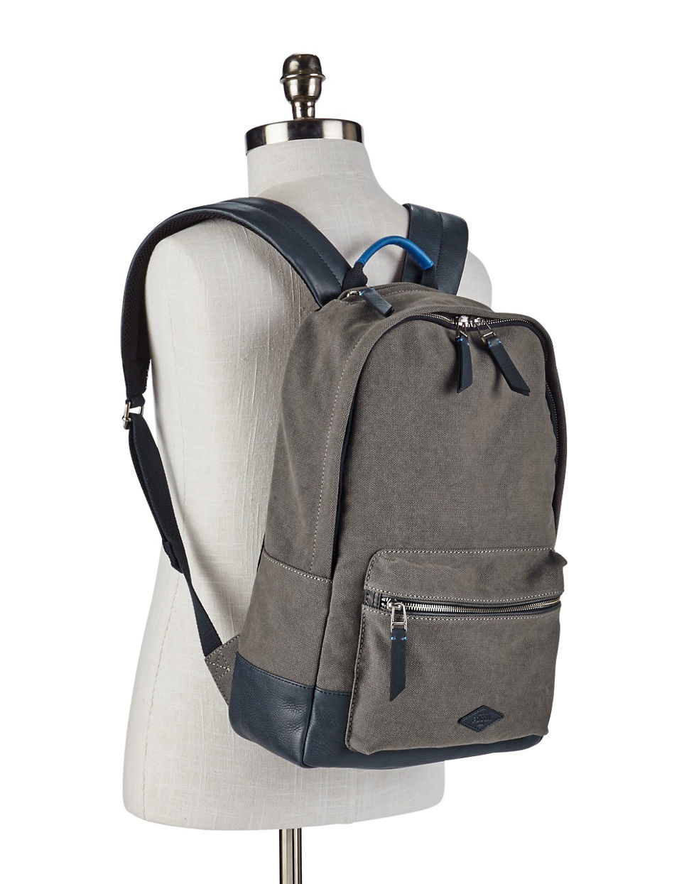 Lyst - Fossil Estate Leather-trimmed Backpack in Gray for Men