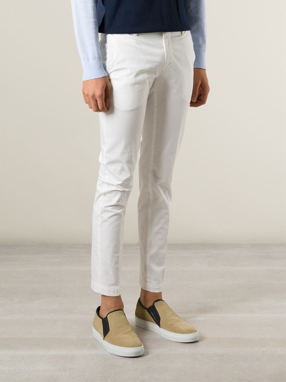 cropped chinos - White PT01 Cheap Big Discount In China For Sale Natural And Freely Low Cost Cheap Price Cheap Sale Outlet Store v5uw6T