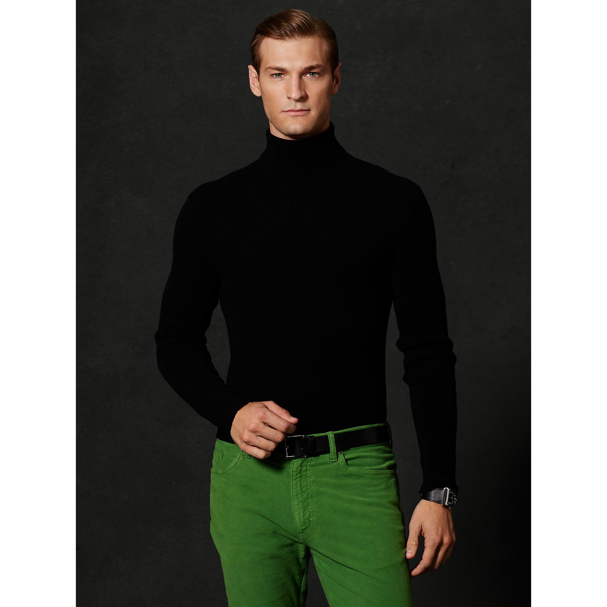 Ralph lauren purple label Cashmere Turtleneck Sweater in Black for ...