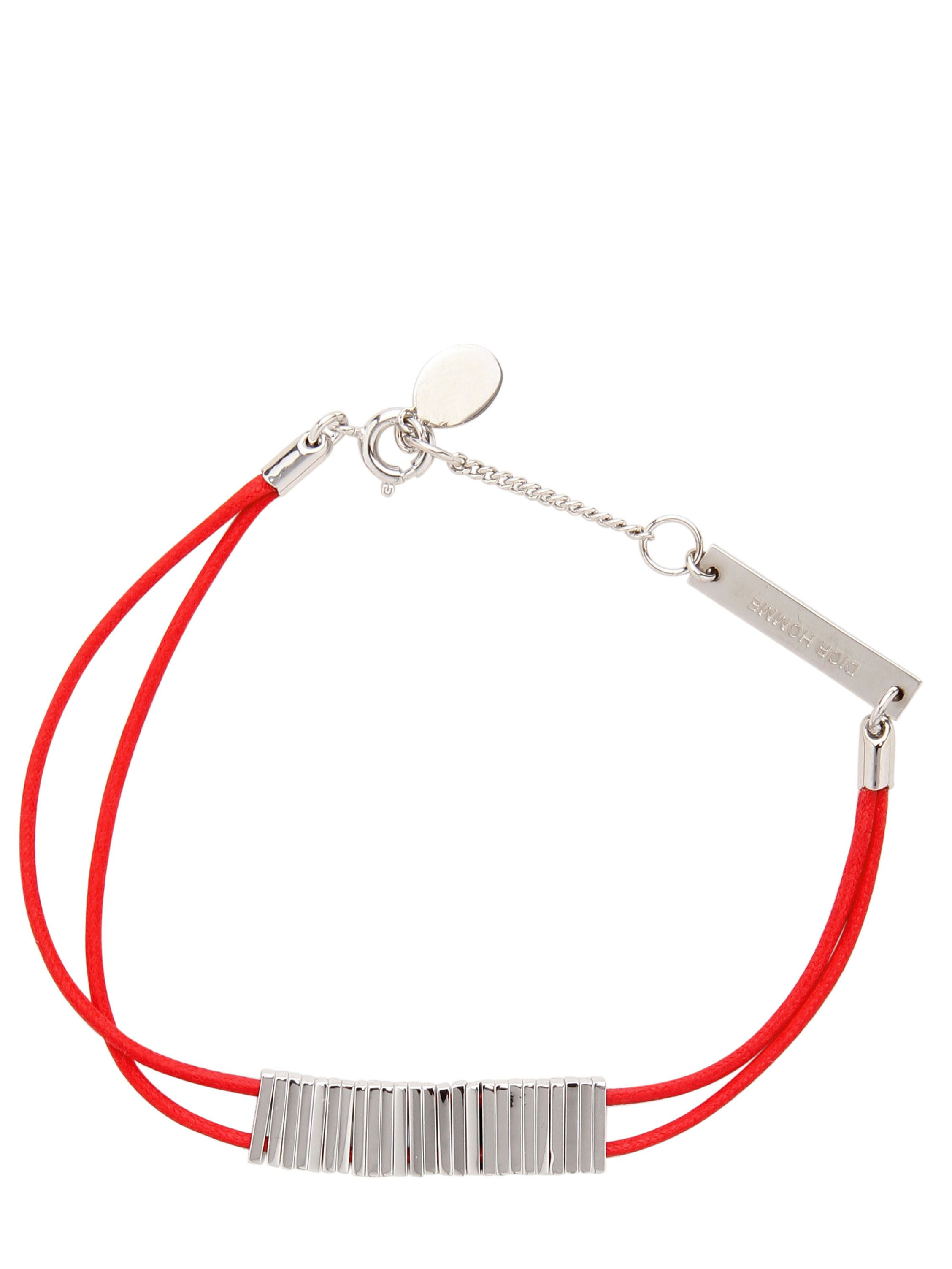 bfe927368ba4ca Lyst - Dior Homme Brass Metal And Waxed Cotton Bracelet in Red for Men