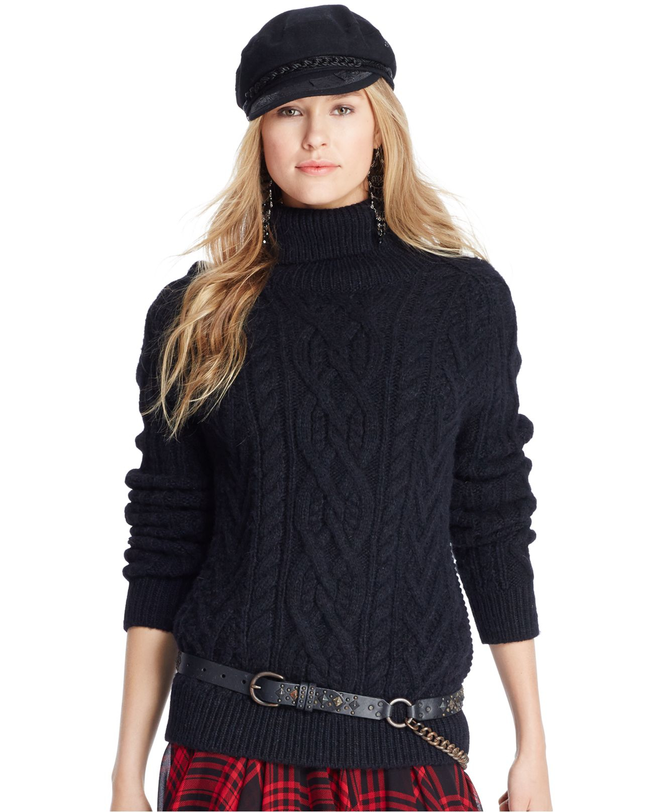 Polo ralph lauren Cabled Turtleneck Sweater in Black | Lyst