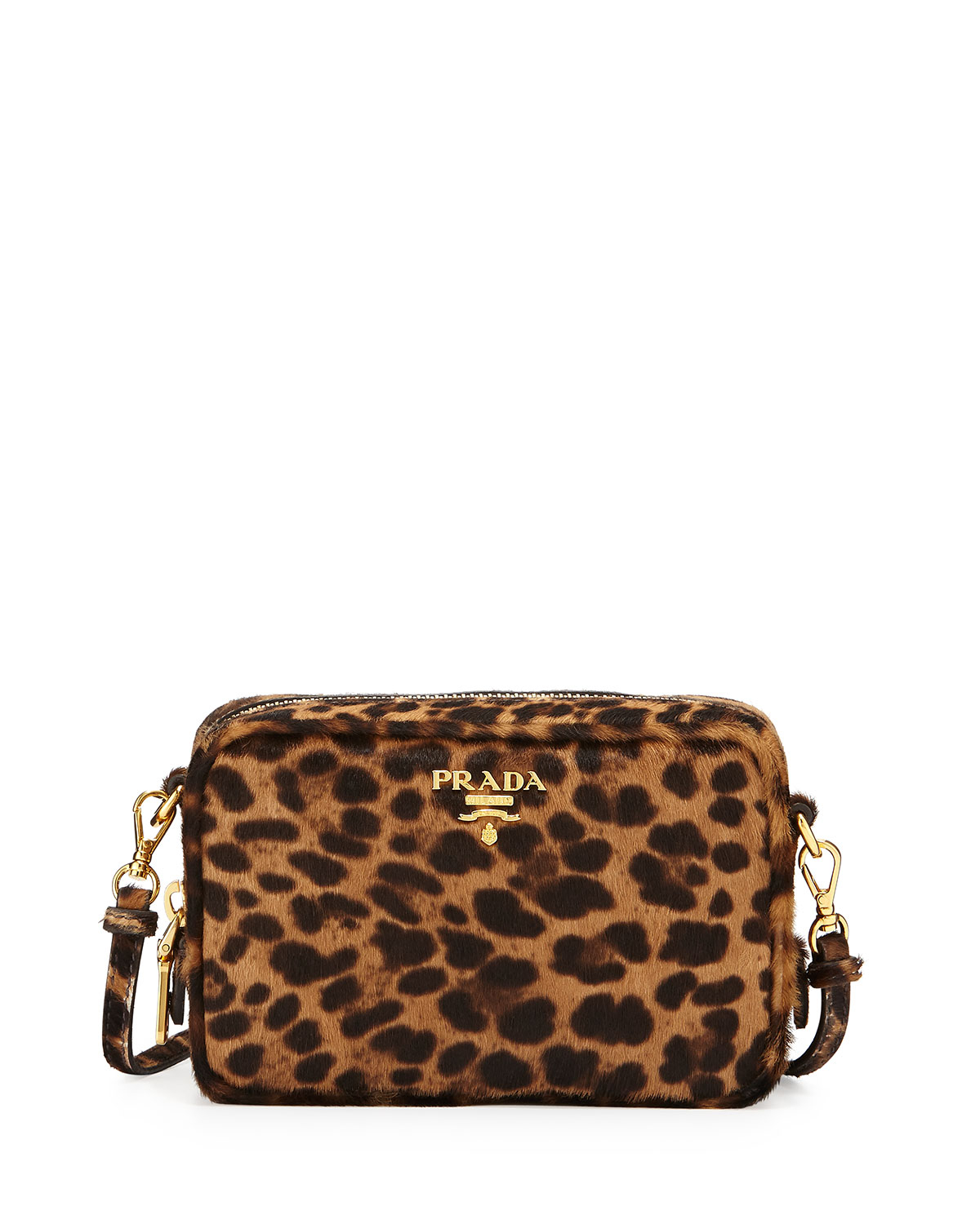 6488580098 Lyst - Prada Leopard-print Calf Hair Mini Crossbody Bag