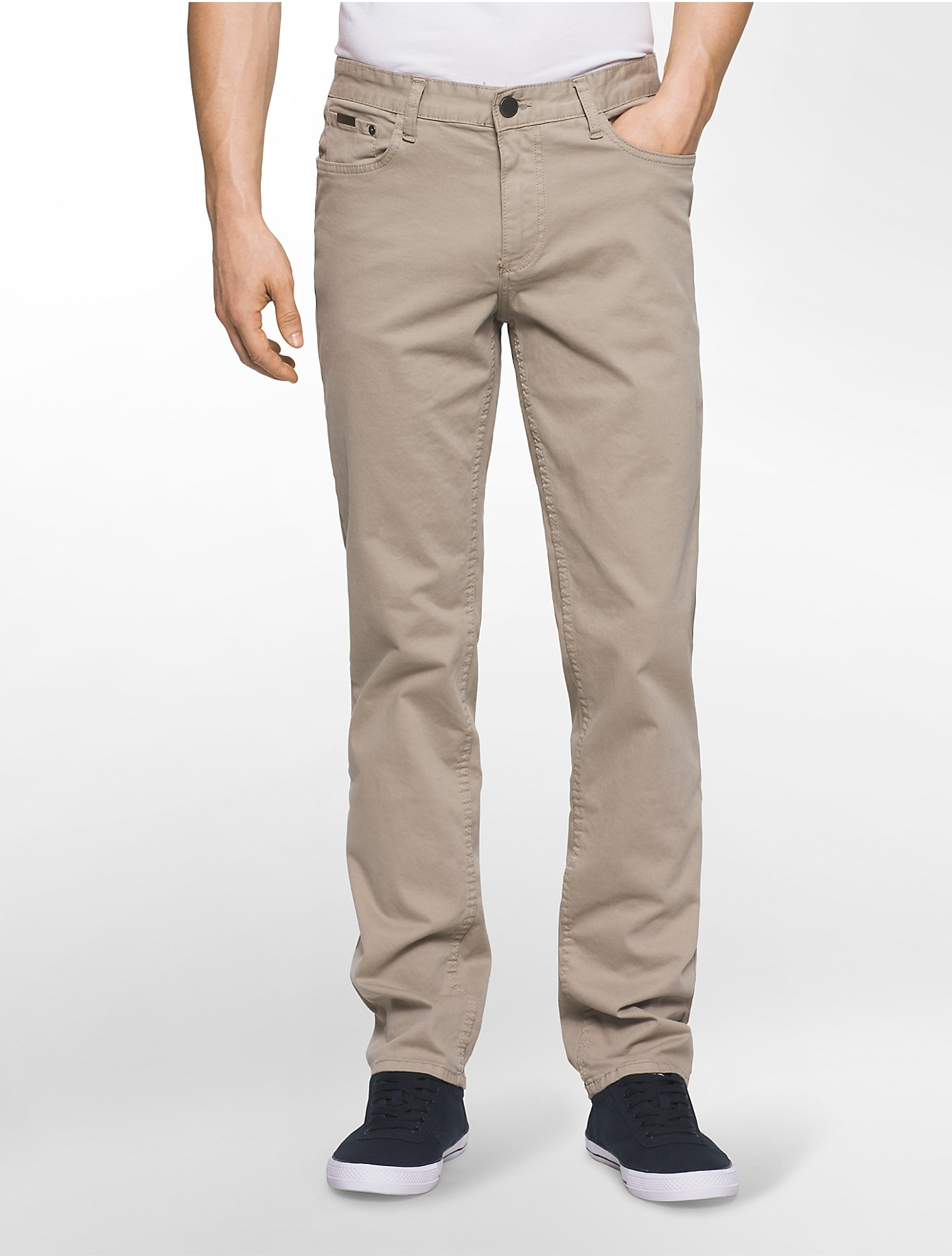 calvin klein jeans slim straight leg 5 pocket sateen pants. Black Bedroom Furniture Sets. Home Design Ideas