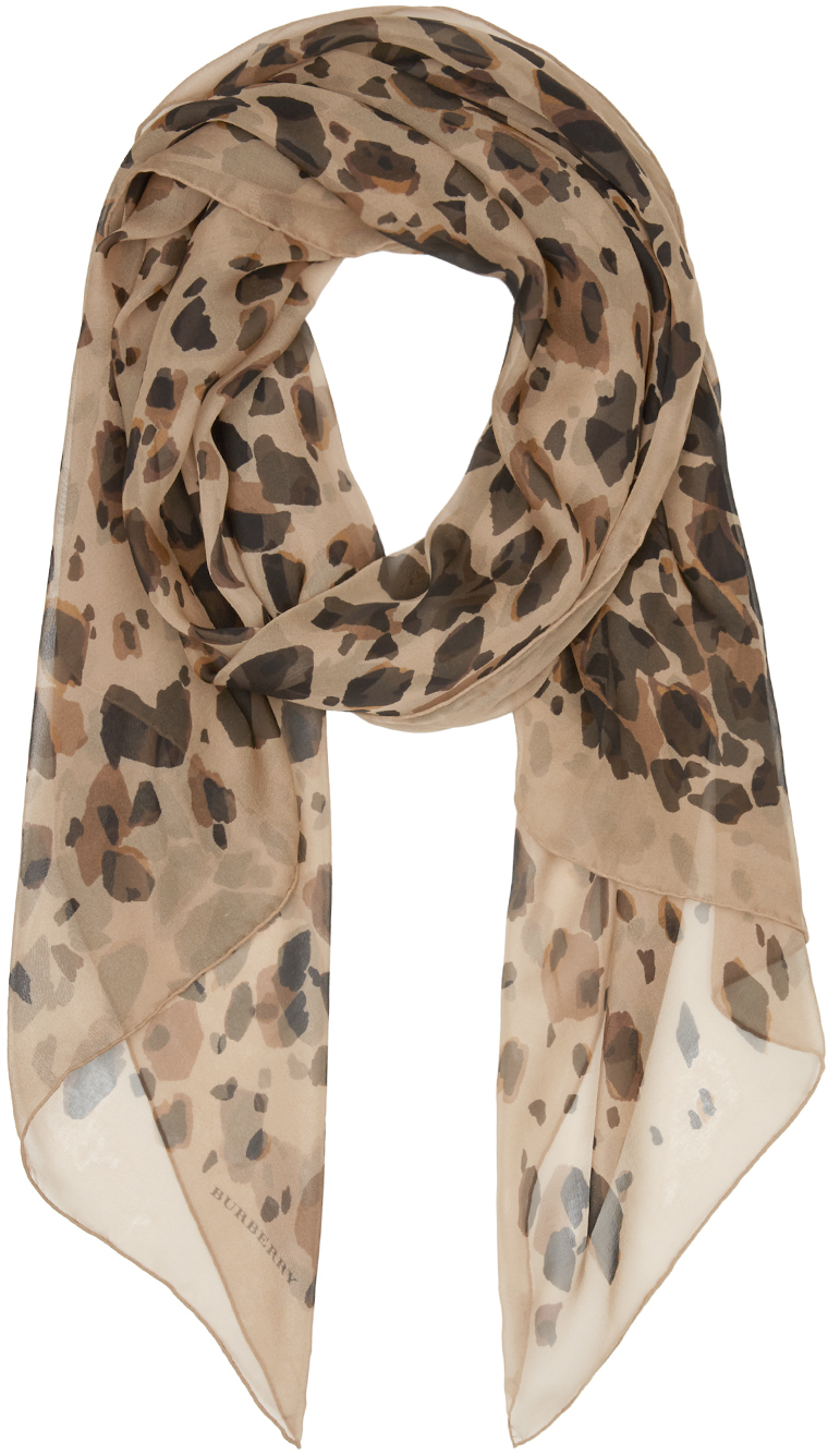Burberry Prorsum Camel Animal Print Silk Scarf Lyst