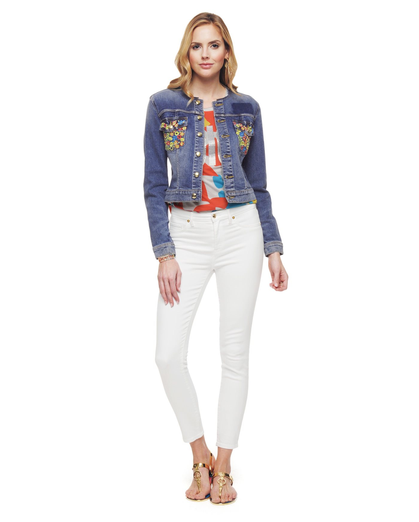 Juicy couture floral embroidered denim jacket in blue lyst