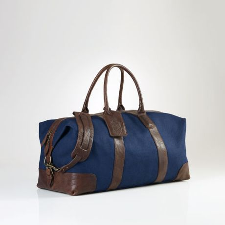 Polo Ralph Lauren Canvas Leather Weekend Bag in Blue for Men