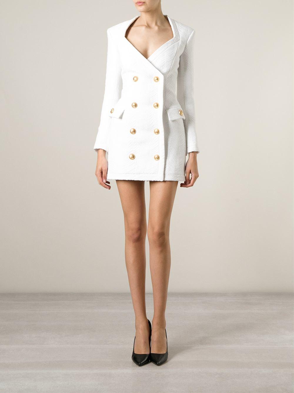 Balmain Textured Blazer Dress In White
