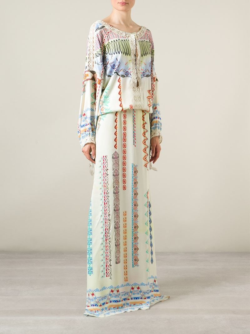 Etro Lace-trimmed Printed Crepe De Chine Maxi Dress - Lyst