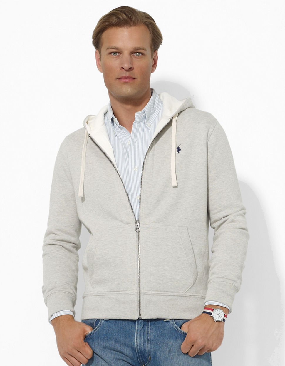 Polo Ralph Lauren | Gray Full-zip Fleece Hoodie for Men | Lyst. View Fullscreen