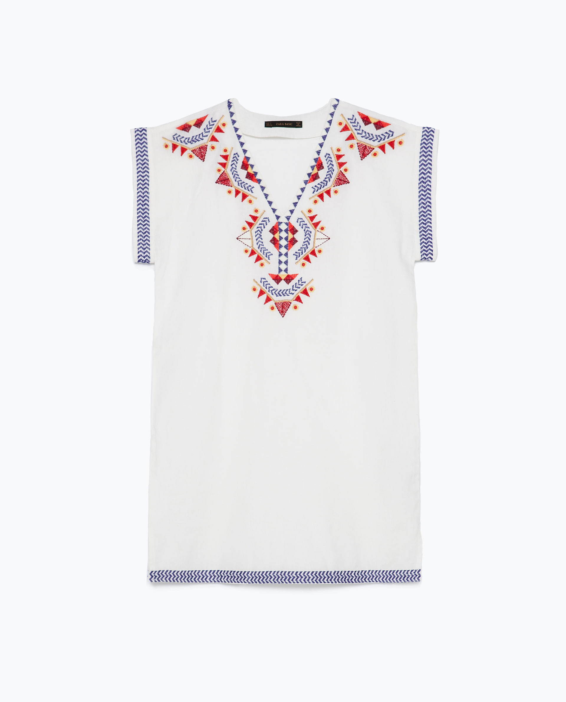 Zara embroidered tunic in white lyst