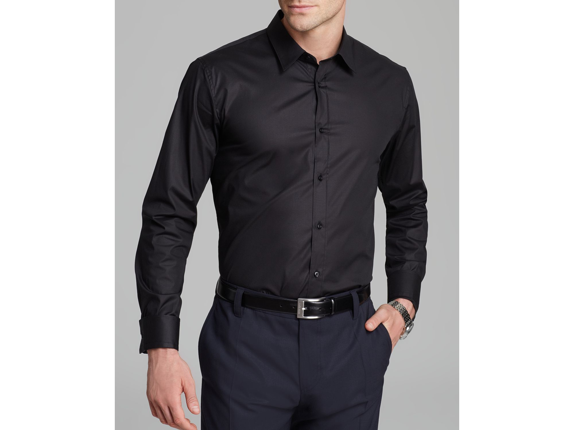 Hugo Elisha Button Down Shirt Slim Fit In Black For Men