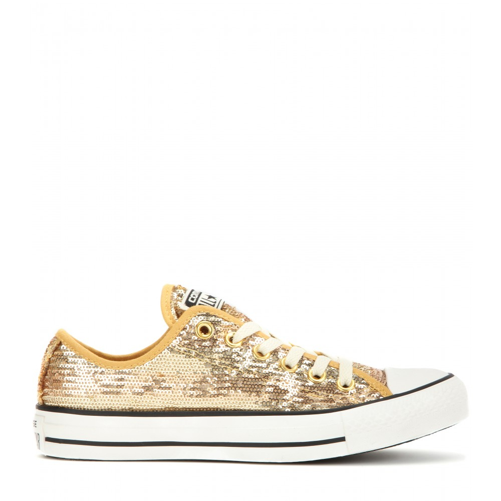 Converse Women's Chuck Taylor All Star Gold Sequin Low Tops