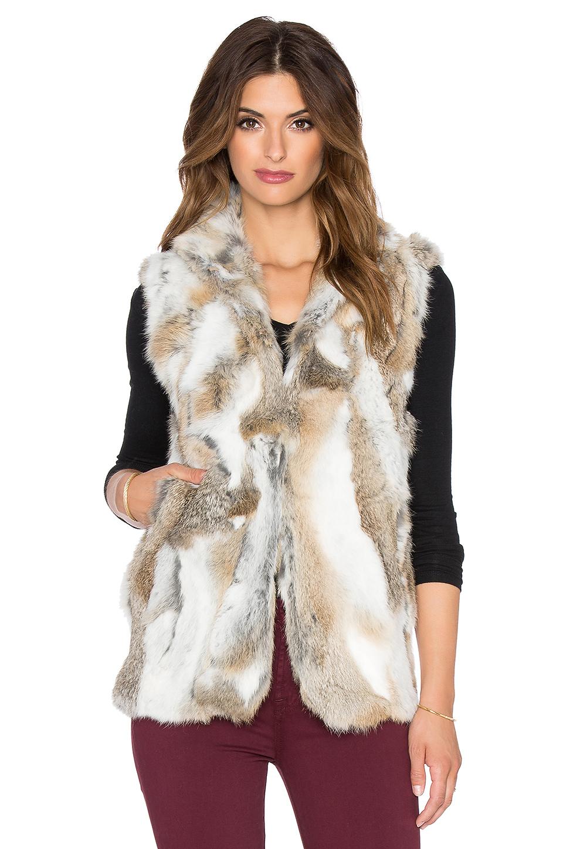 Adrienne Landau Pieced Rabbit Fur Vest In Brown Lyst