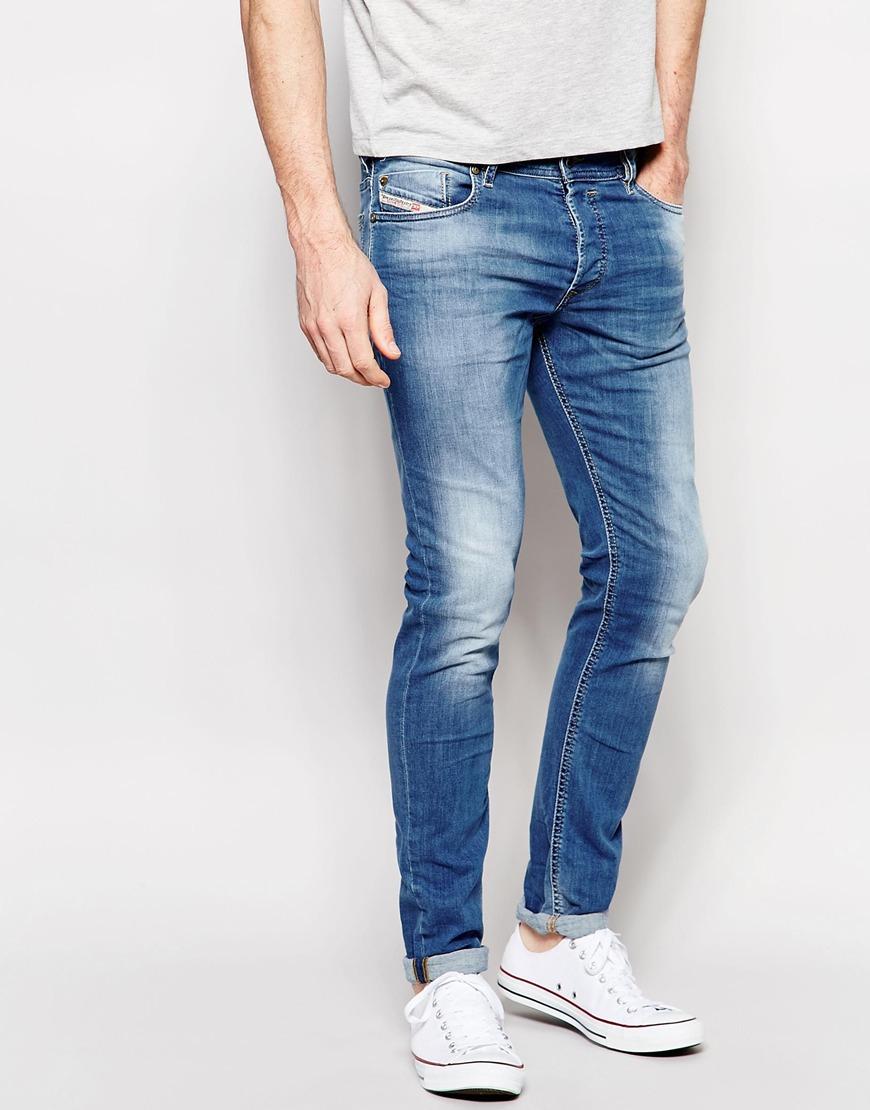 12a5a94a DIESEL Jeans Sleenker 607k Skinny Fit Stretch Light Distressed Wash ...