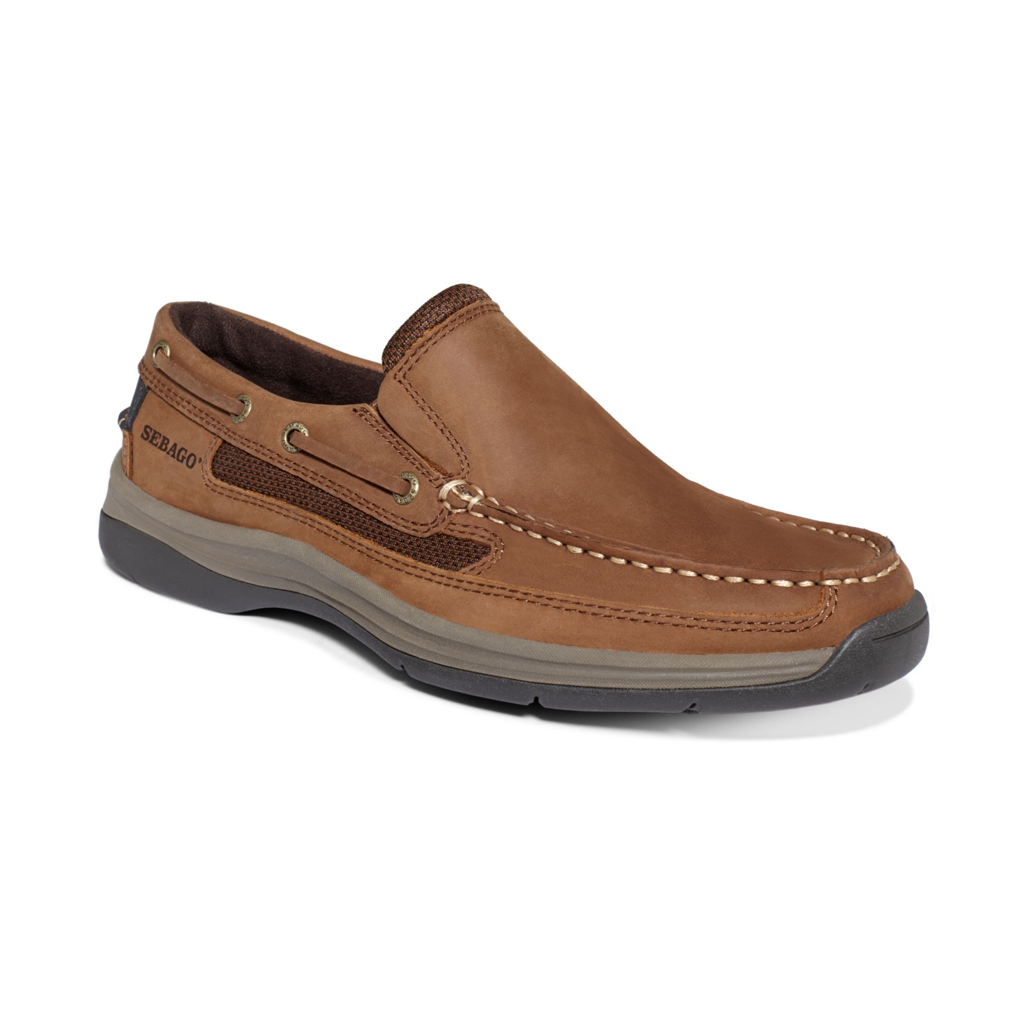 sebago bowman slip on boat shoes in brown for