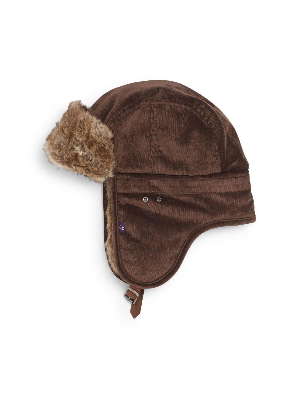 56002b62625 Lyst - Original Penguin Jimmy Van Faux Fur-trimmed Trapper Hat in ...