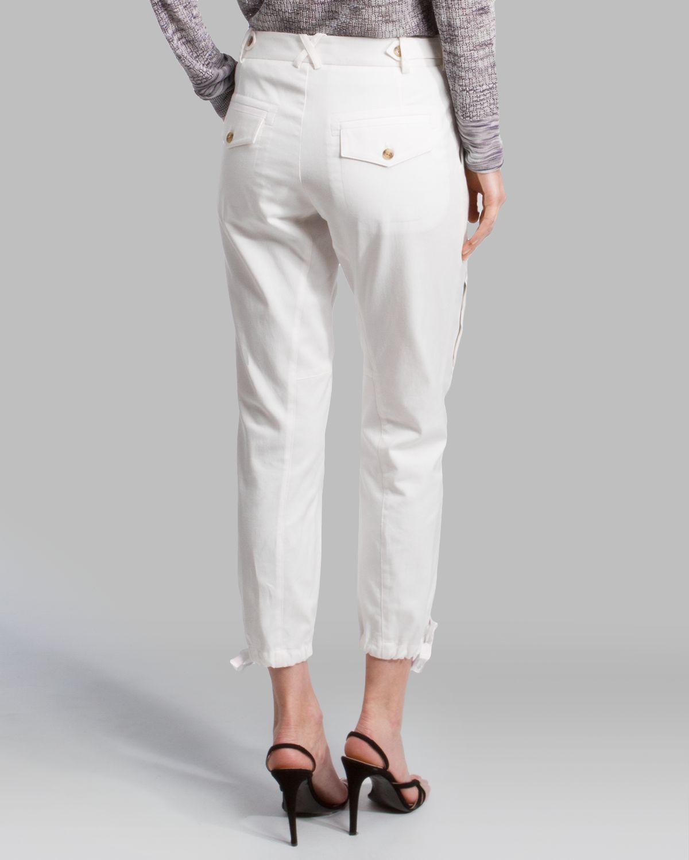 Lyst Halston Pants Tie Waist Straight Slim Cargo In White