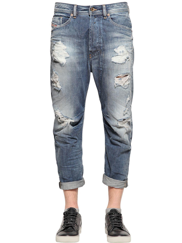 Diesel 17cm Narrot Destroyed Denim Jeans in Blue for Men | Lyst
