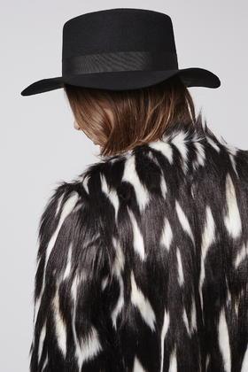 Lyst - TOPSHOP Flat Brim Boater Hat in Black 832211e67ab