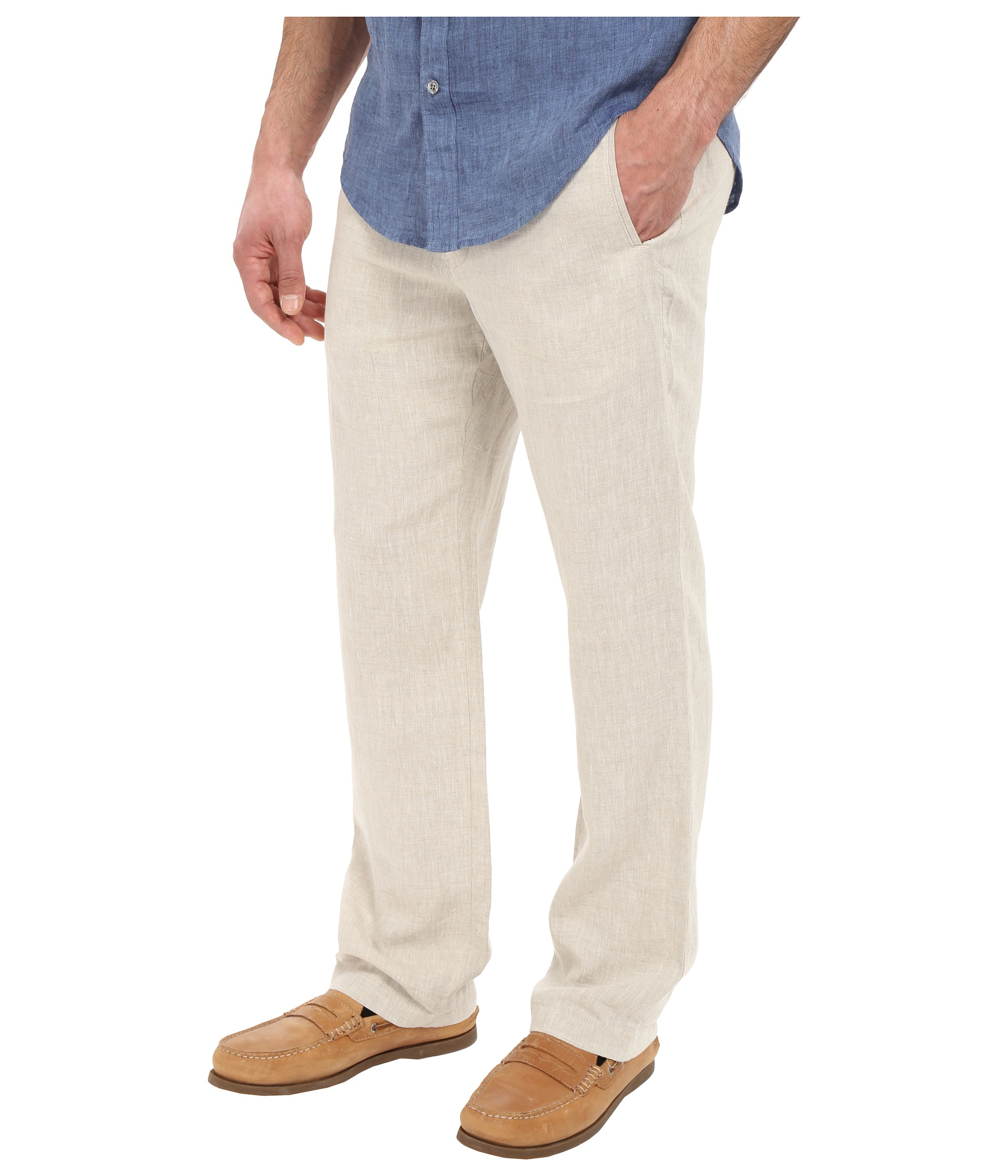 Perry ellis Drawstring Linen Pants in Natural for Men | Lyst