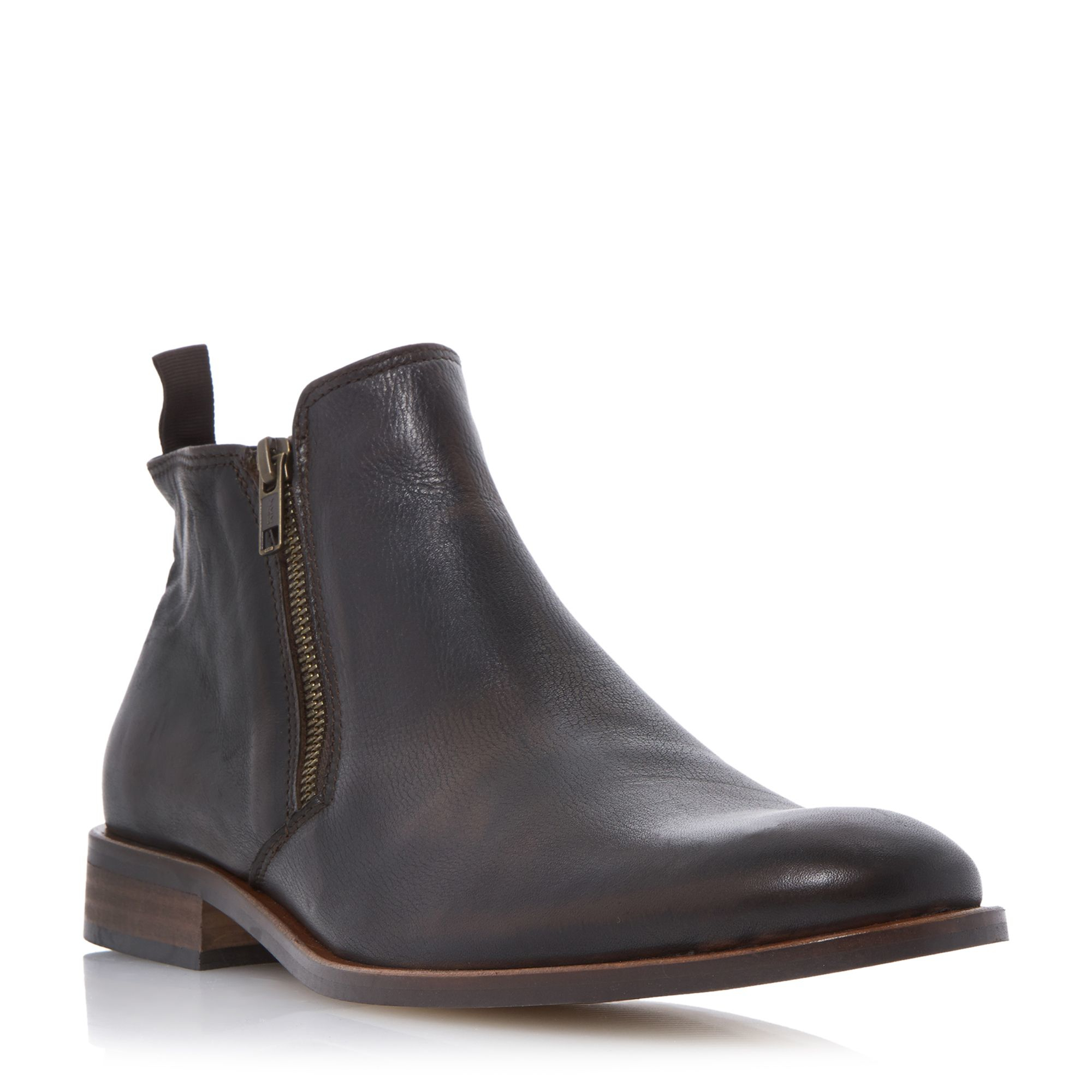 dune maccabee side zip leather ankle boots in brown for