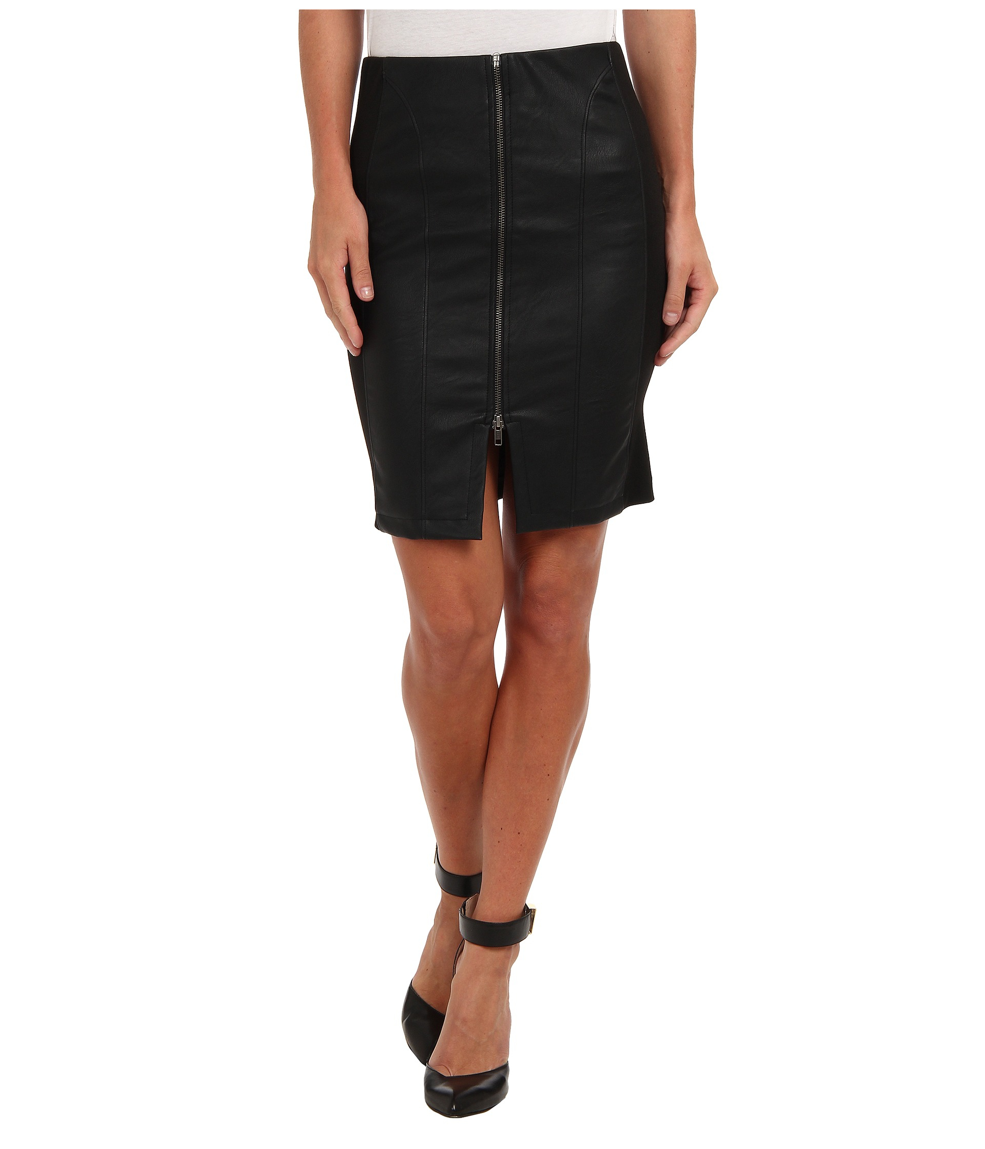 t bags zip front faux leather pencil skirt in black lyst