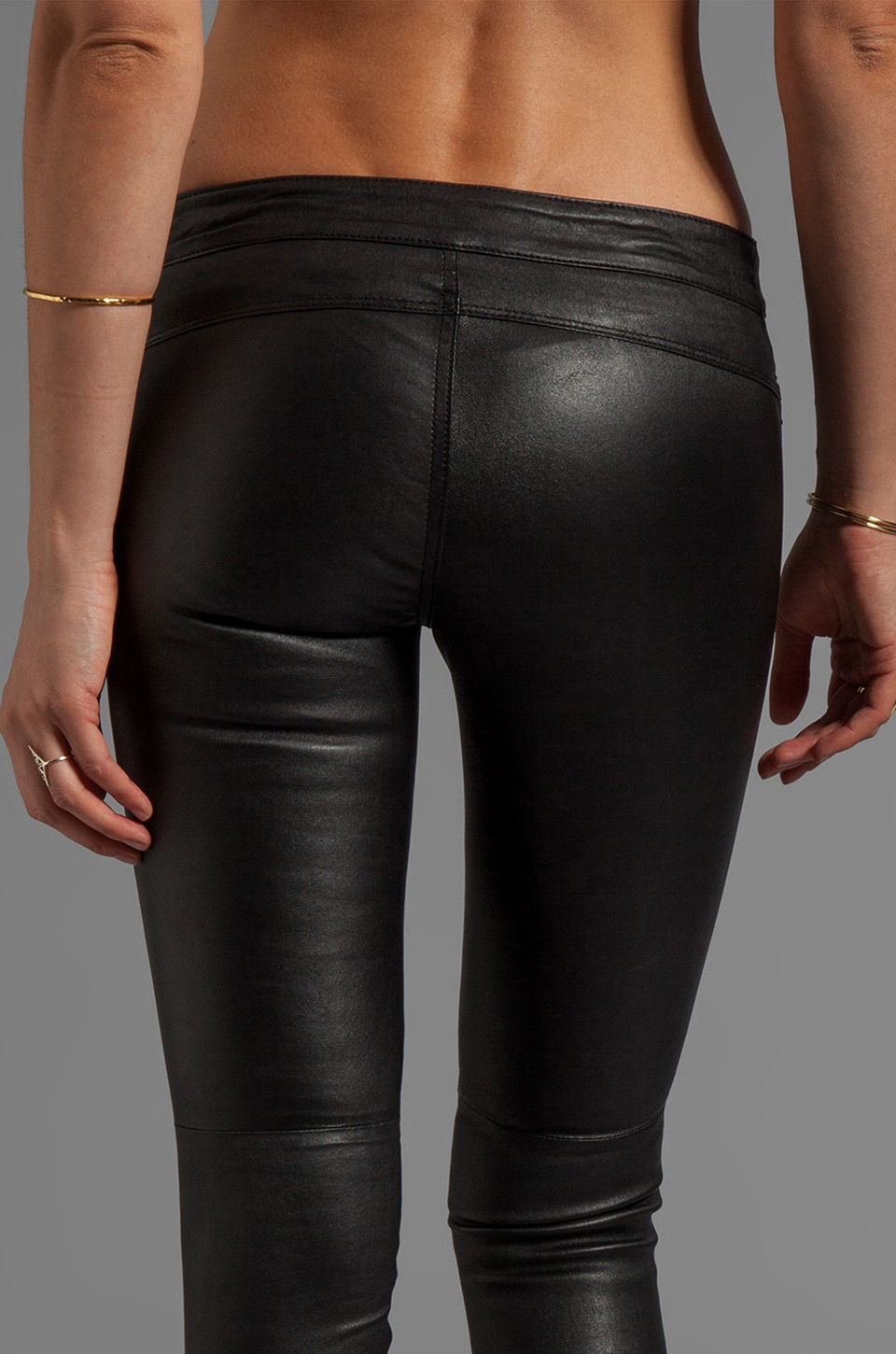 Cut25 By Yigal Azrou 235 L Stretch Leather Pant In Black In