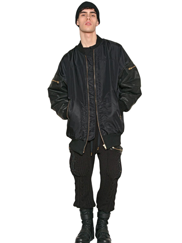 Skingraft Oversized Nylon Bomber Jacket In Black For Men