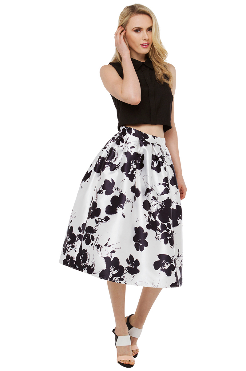 Lyst - Akira Black Label Flower Power Ivory Midi Skirt in White