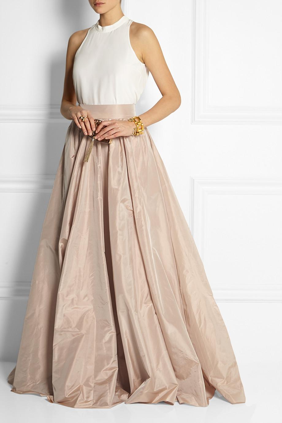 Jenny Packham Pleated Silk Taffeta Maxi Skirt In Metallic