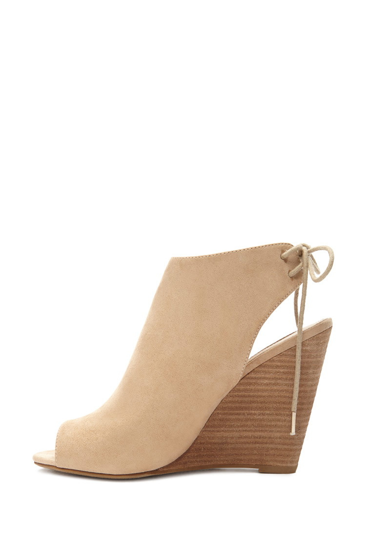Forever 21 Faux Suede Peep-toe Wedges in Natural | Lyst