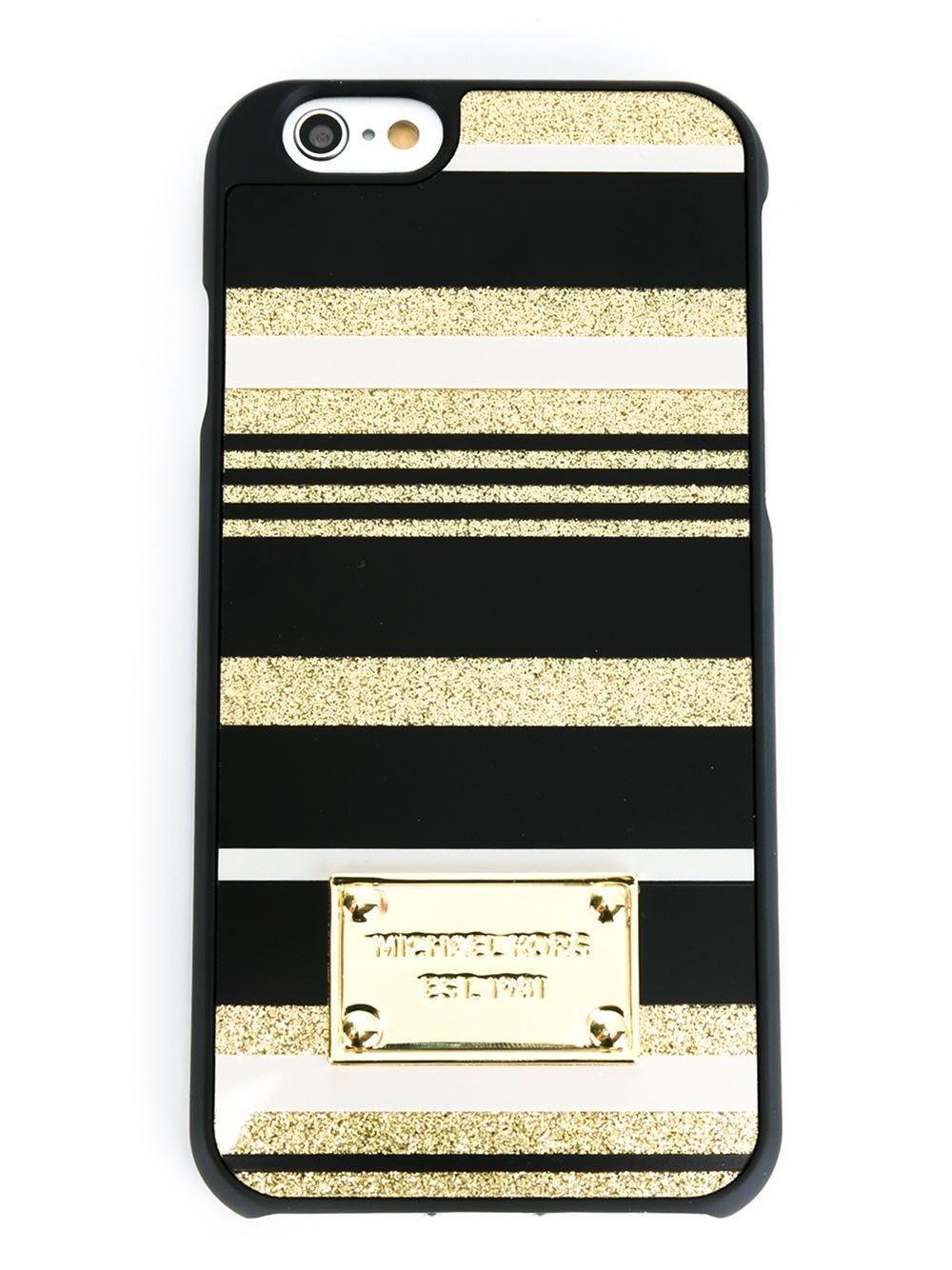 Michael michael kors glitter stripe iphone 6 case in black for Housse iphone 6 michael kors