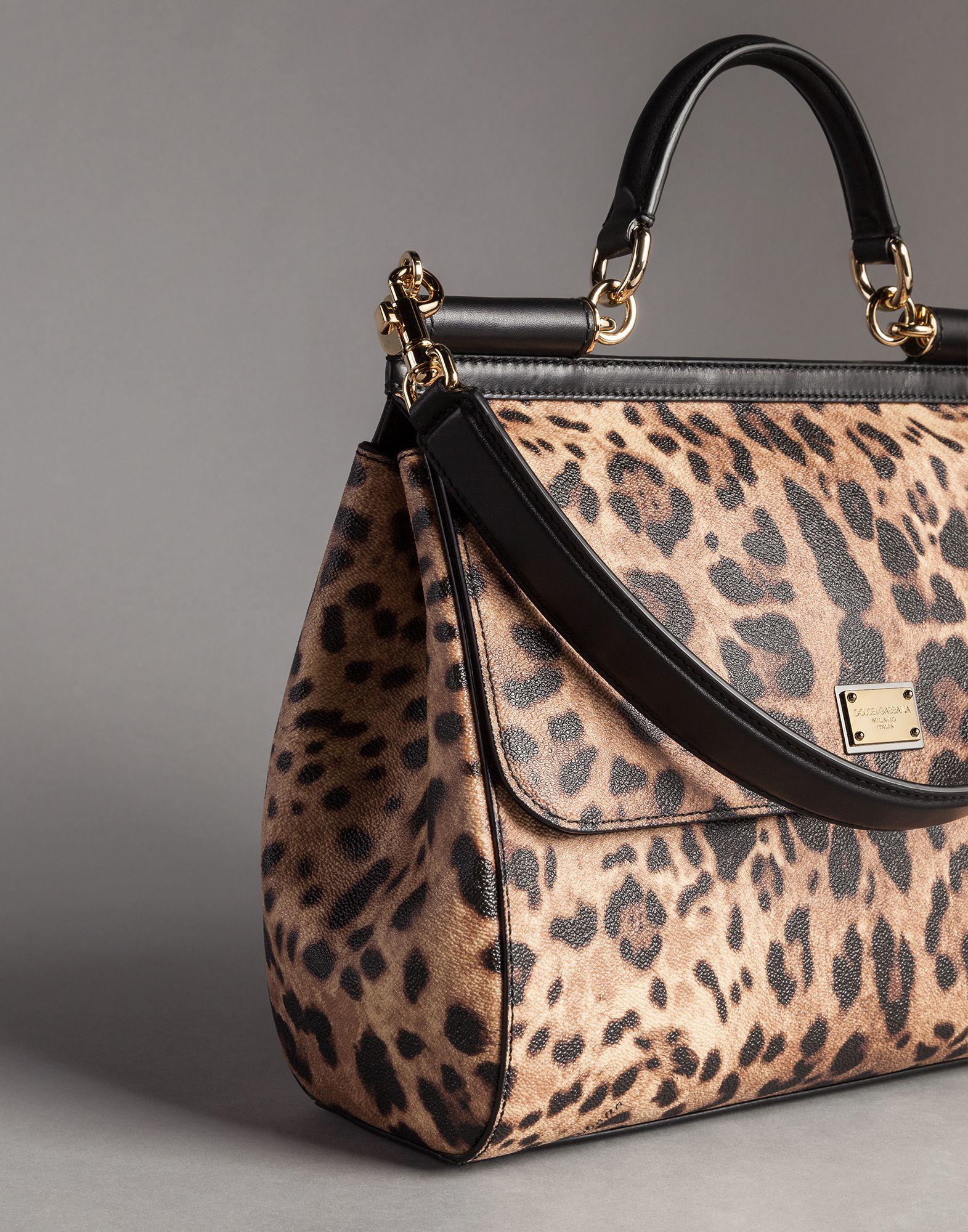 bdf5fcdd479d Lyst - Dolce   Gabbana Sicily Leopard-Print Tote in Brown