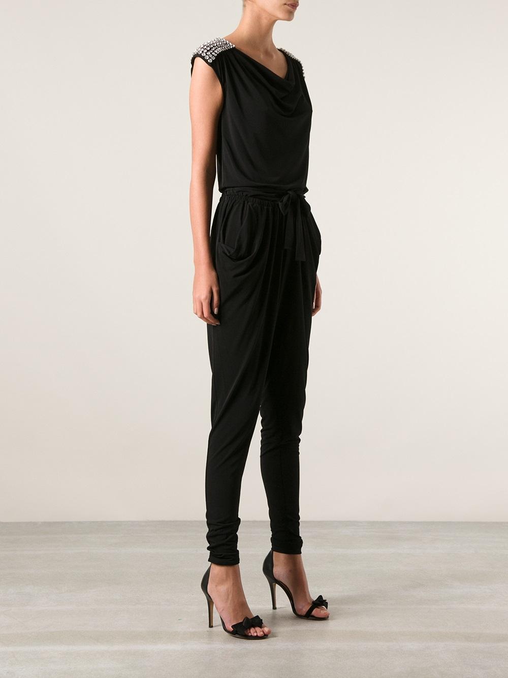 michael michael kors embellished jumpsuit in black lyst. Black Bedroom Furniture Sets. Home Design Ideas