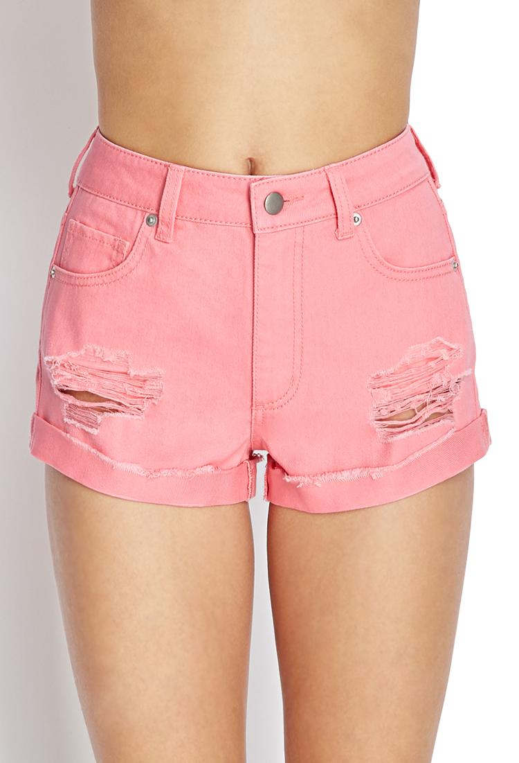 forever 21 cuffed denim shorts in pink lyst