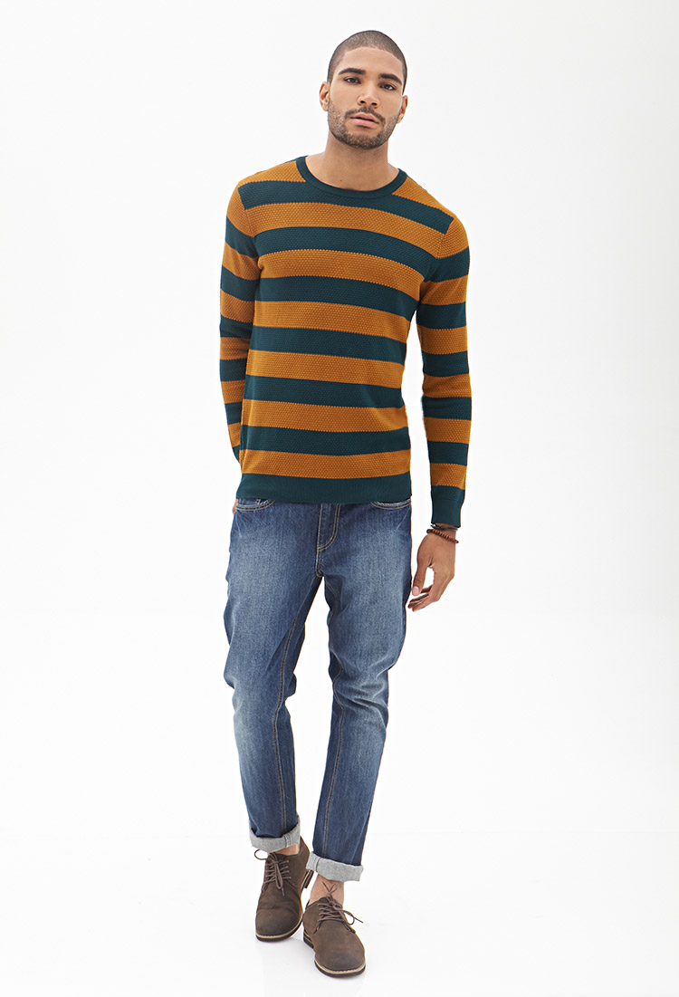 Forever 21 Rugby Striped Sweater in Green for Men | Lyst