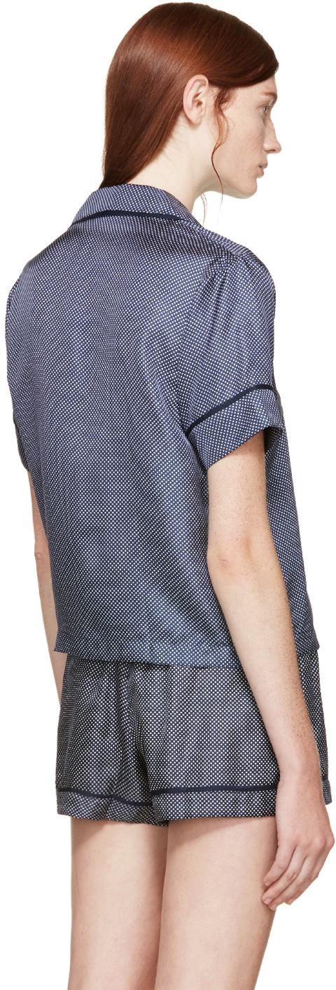 70599f89f9a20 Lyst - Araks Navy And White Polka Dot Pyjama Blouse in Blue
