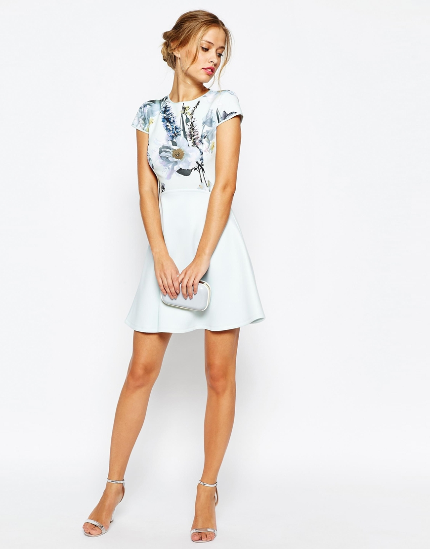 Lyst Ted Baker Faythe Torchlit Floral Skater Dress In Green