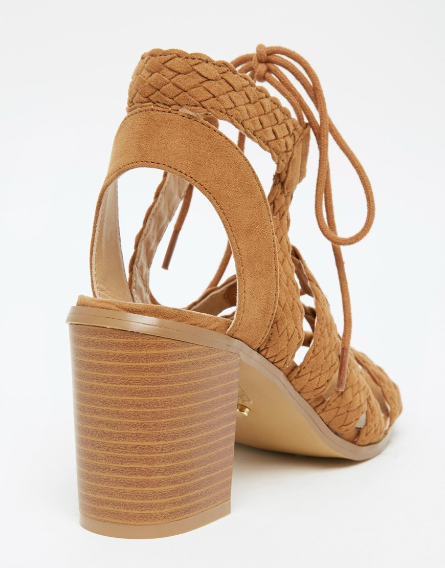 e1c77c964234 Lyst - Oasis Lace Up Block Heeled Sandal in Brown
