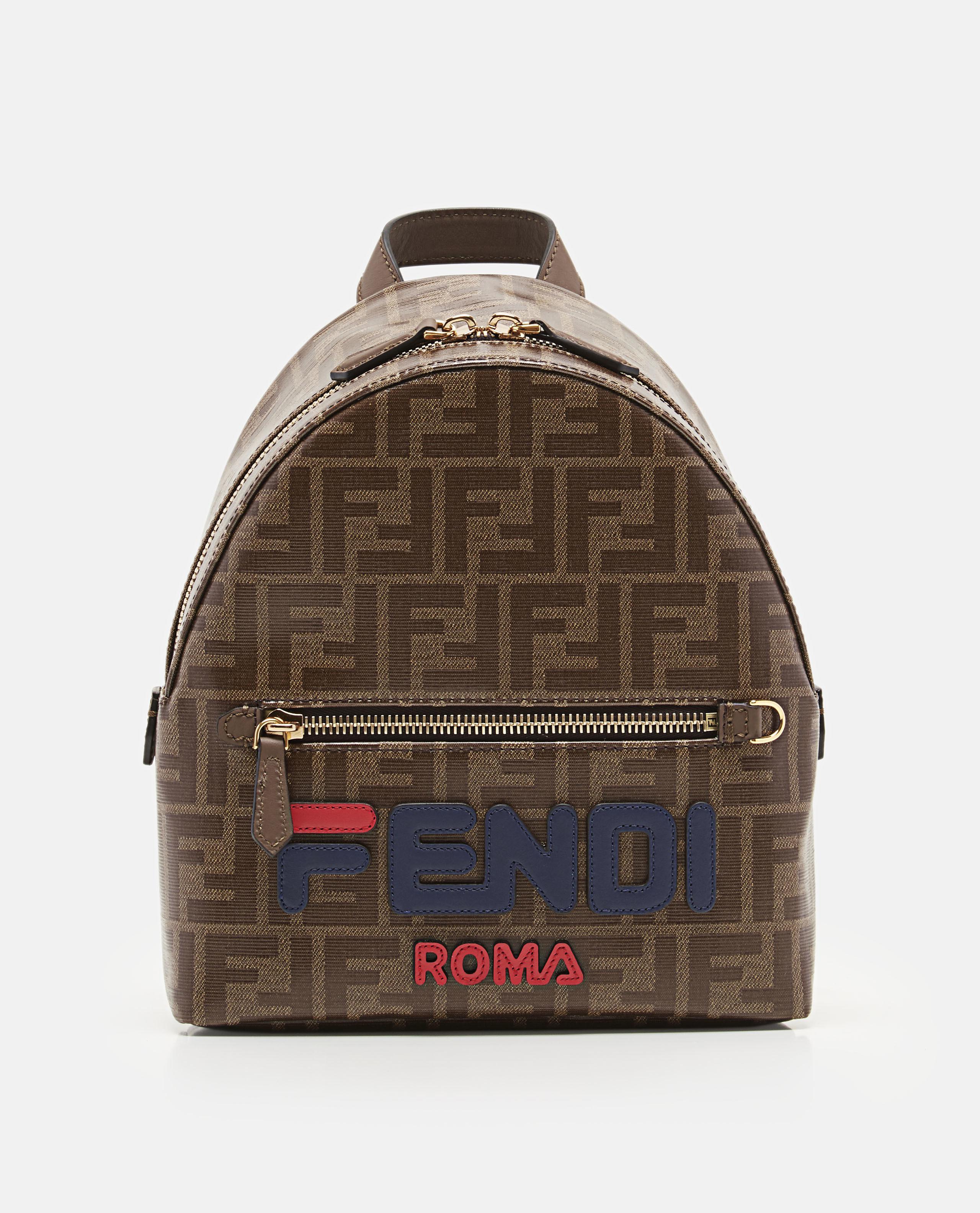 e7e6e51a1e00 Fendi Mania Logo Appliqué Coated Canvas Backpack in Brown - Lyst