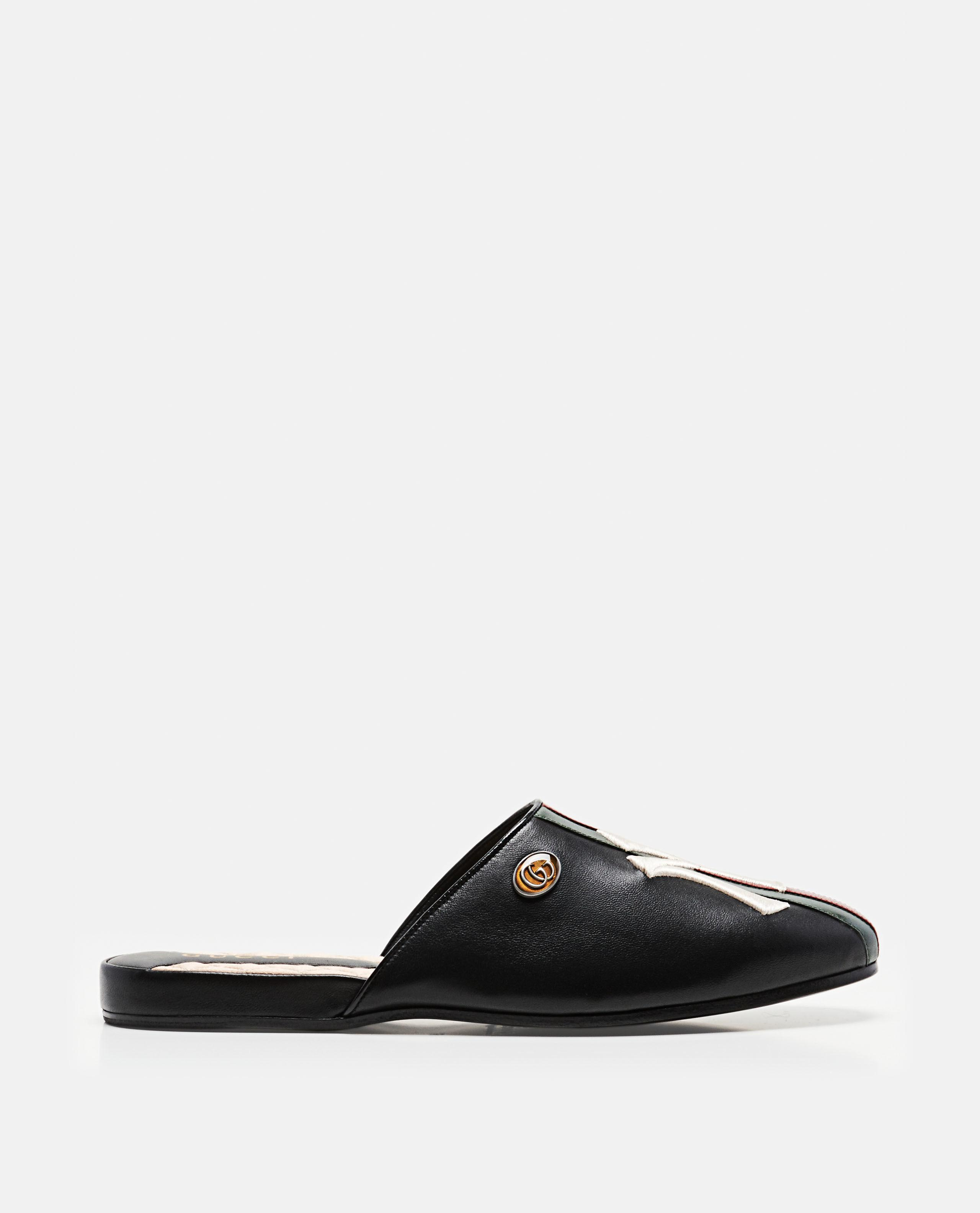 382ac799a Gucci Leather Slipper With Ny Yankees Patch in Black for Men - Lyst