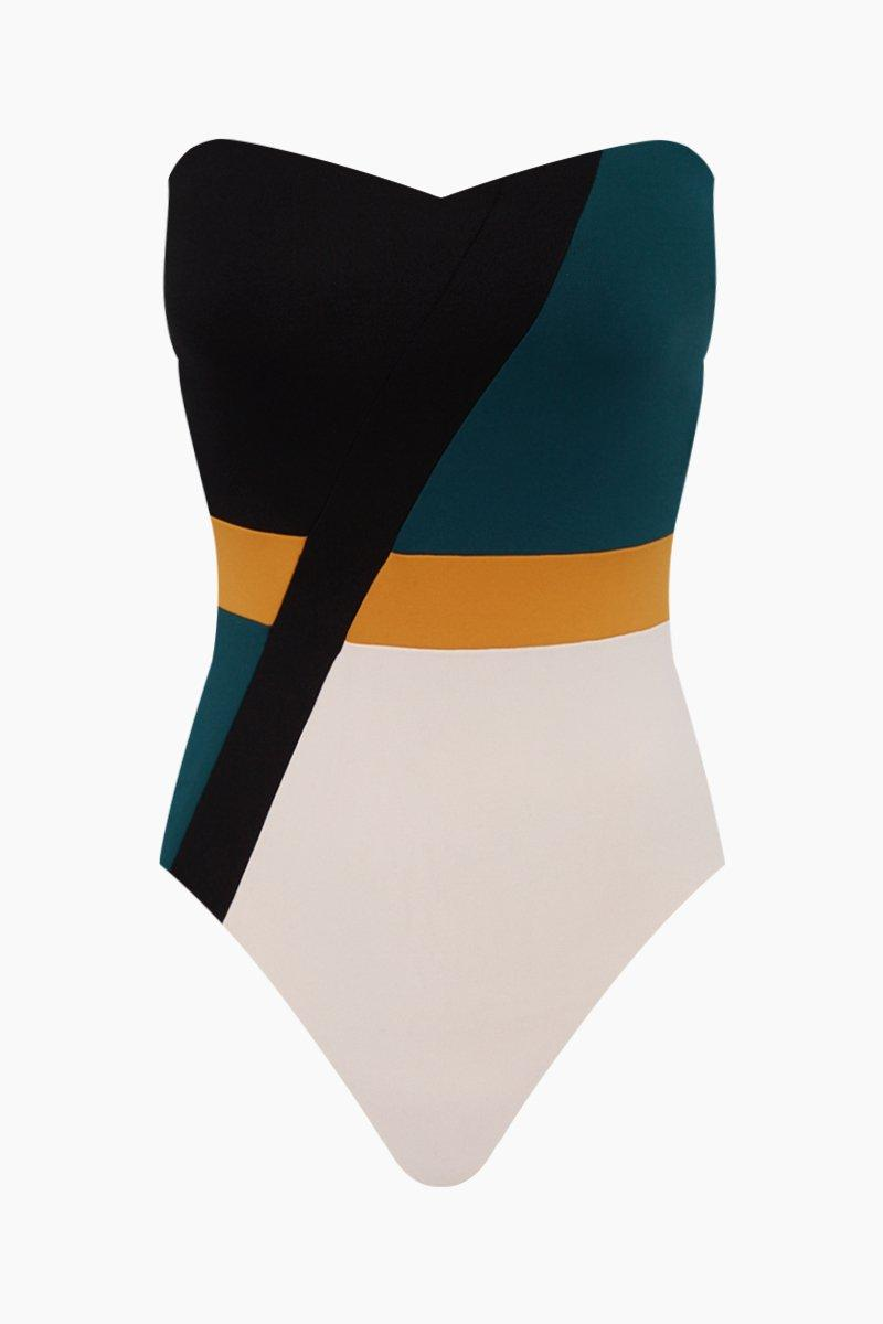 05f54d741c3cb Lyst - Seafolly Aralia Strapless Color Block One Piece Swimsuit ...