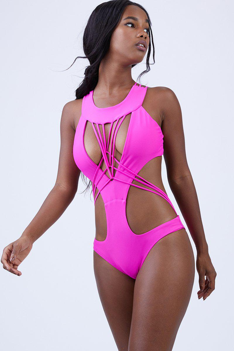 c5694927d85a5 Keva J Akila Cut Out One Piece Swimsuit - Fuschia in Pink - Lyst